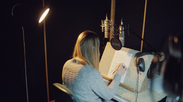 Laura recording our voiceover at MMO Studios